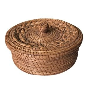 Round Woven Seagrass Storage Decor Basket With Lid